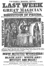 """Very rare poster of 1838 in which John Henry Anderson is billed as """"The Great Magician."""" From the Harry Houdini Collection."""