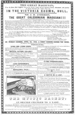 """Anderson billing of 1838, featuring obedient cards as """"Napoleon's Trick."""" From the Harry Houdini Collection."""
