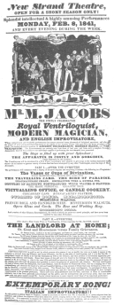 """Jacobs poster, featuring """"The Travelling Card."""" From the Harry Houdini Collection."""