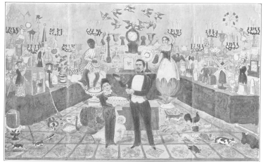 Lithograph used by E. W. Young, who copied all of John Henry Anderson's billing and featured the obedient-card trick. This setting shows how cumbersome was the apparatus employed by magicians before Wiljalba Frikell proved that he could score with apparently no apparatus. Original in the Harry Houdini Collection.