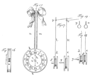"""The above diagram exposes the magic clock trick, as offered in the time of Hofrath von Eckartshausen, a German writer on magic in the eighteenth and the nineteenth centuries. Fig. 15 shows the clock in position for the trick, hung against the rear wall or """"drop."""" Gaily-colored ribbons hide thin leather tubes through which run two sets of stout silk thread or catgut, connecting with the hour and minute hands. The thread then passes through the two iron rings, p and o in Figures 17 and 19, which are screwed to the ceiling; thence to the hidden confederate, who manipulates the clock hands as the hour and minute are announced by magician or spectator. Fig. 16 shows the two faces of the clock, with the fine connecting rod around which the string is wound to manipulate the hands. This mechanism is hidden by a flat brass band which encircles the edges of the two transparent faces. From Eckartshausen's """"The Conjurer's Pocket,"""" edition of 1791."""