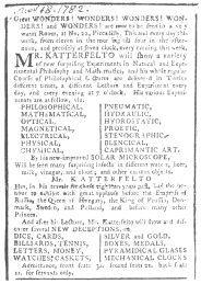 Newspaper clipping of 1782, showing that Katterfelto used the cabalistic clock. From the Harry Houdini Collection.
