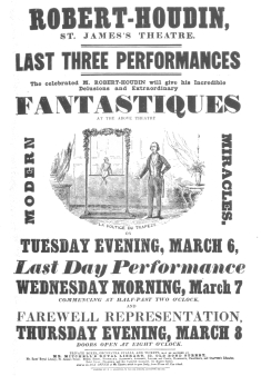 Copy of a poster used by Robert-Houdin to advertise his trapeze performer. This proves how accurately he duplicated the Pinetti figure, even to the arrangement of floral garlands. From the Harry Houdini Collection.