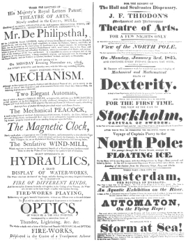 A de Philipsthal programme of 1806 on which both the automatic tight-rope performer and the magnetic clock were featured. From the Harry Houdini Collection.