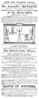 """A Schmidt programme of 1821, featuring the """"Bottle of Sobriety and Inebriety."""" From the Harry Houdini Collection."""