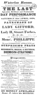 """Poster used by Phillippe during his Edinburgh engagement in 1838, featuring """"The Infernal Bottle."""" From the Harry Houdini Collection."""