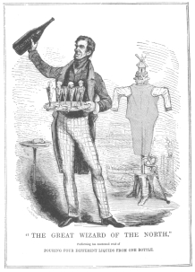 """Reproduction of a political cartoon in Punch, published during Anderson's London engagement, April, 1843, proving that the """"Inexhaustible Bottle Trick"""" was used by Anderson before Robert-Houdin was a professional entertainer. From the Harry Houdini Collection."""