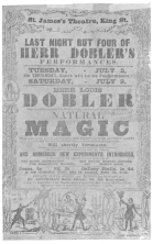 Döbler programme with illustrations of his tricks, used during his engagement at the St. James Theatre, London. From the Harry Houdini Collection.