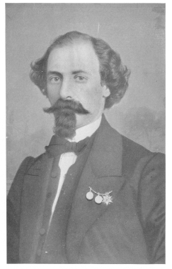 The original Compars Herrmann, who was Robert-Houdin's very active rival during the latter's first engagement in London. Best portrait now in existence, and only one showing Herrmann in his prime. Original photograph loaned for this work by James L. Kernan, of Baltimore, Md., U. S. A.