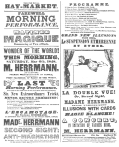 Billing used by Compars Herrmann when he played in opposition to Robert-Houdin on the latter's arrival in London. This shows that Herrmann duplicated all of Robert-Houdin's tricks. From the Harry Houdini Collection.
