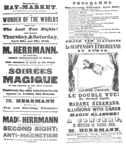 A Herrmann programme dated April, 1848, showing that Herrmann presented the inexhaustible bottle two months before Robert-Houdin appeared in London.