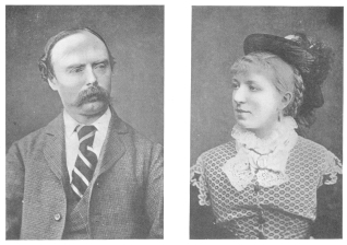 Robert and Haidee Heller from photographs taken at the time that they were presenting second sight according to the Robert-Houdin method by an electric code. From the Harry Houdini Collection.