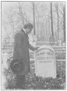 The author at the long-neglected grave of Robert Heller, in Mt. Moriah Cemetery, Philadelphia, U. S. A. From a photograph in the Harry Houdini Collection.