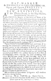 Clipping from the London Post, December 1st, 1784, in which Pinetti featured second sight. From the Harry Houdini Collection.