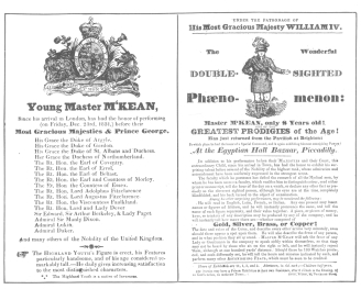 Reproduction of front and back of original handbill distributed on London streets in 1831, to advertise Master M'Kean. From the Harry Houdini Collection.