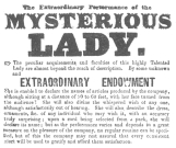 Reproduction of original billing matter used by the mysterious lady who offered second sight in the United States in 1841-42-43. From the Harry Houdini Collection.