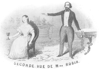 Second sight as offered by M. and Mme. Robin, in which Robin employed the bell and the goblet. From the latter she sipped liquor, claiming it tasted like the wine secretly named by a spectator. Robin's stage was equipped with electrical appliances. From the Harry Houdini Collection.