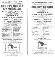 Poster used by Robert-Houdin during his first London engagement, featuring suspension. From the Harry Houdini Collection.
