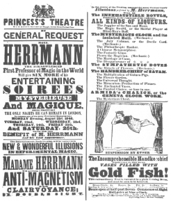 A Compars Herrmann programme of 1848 in which suspension is featured. From the Harry Houdini Collection.