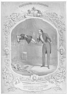 """""""Suspension Chloriforeene,"""" as presented by Anderson and his son, from a lithograph used by him on his return from the Continent, December, 1848. From the Harry Houdini Collection."""