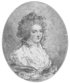 Reproduction of a rare portrait of Seraphinia Feliciani, Comtesse de Cagliostro, wrongfully called Lorenzo in the Encyclopædia Britannica. From the Harry Houdini Collection.