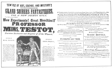 Very rare Testot handbill printed about 1800, presented by Testot to Henry Evanion. From the Harry Houdini Collection.