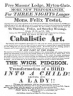 """Testot programme, featuring """"Cabalistic Art"""" in 1826. From the Harry Houdini Collection."""