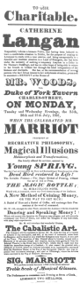 """Marriot programme featuring """"Cabalistic Art"""" in 1831, or fifteen years before Robert-Houdin claims to have invented the disappearing handkerchief trick. From the Harry Houdini Collection."""