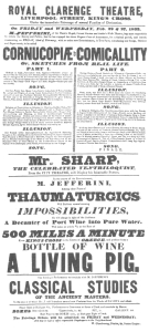 Jefferini handbill, dated 1833, in which he announces that any article will be made to fly 500 miles a minute.