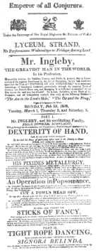 Ingleby handbill, dated 1808. From the Harry Houdini Collection.