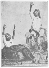 """Indian fakir seated in the basket after the subject has been """"vanished."""""""