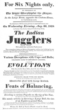 Handbill used by the original Indian jugglers in England during 1818, in which the sword-swallowing trick is featured. From the Harry Houdini Collection.