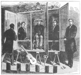 The cabinet trick offered by the Davenport Brothers. From an old print in the Harry Houdini Collection.
