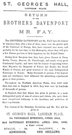 Announcement used by the Davenport Brothers on their return to London, England, after their tour of the Continent in April, 1868. From the Harry Houdini Collection.