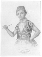 Wiljalba Frikell in his youth, showing the peculiar costume worn by conjurers at that time. The author secured this portrait a few weeks before Frikell's death and sent it to the veteran conjurer, who was amazed to learn that this print was in existence. Now in the Harry Houdini Collection.