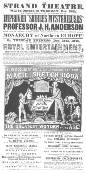 """Anderson's opening programme at the Strand Theatre, Christmas week, 1848, showing that he duplicated the tricks offered by Robert-Houdin, who, in his """"Memoirs,"""" claims that Anderson's programme was stale and uninteresting by comparison with his own."""