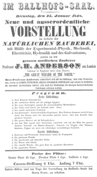 Handbill used by Anderson in Germany. January, 1848, when Robert-Houdin claimed that he was playing in the English provinces. From the Harry Houdini Collection.