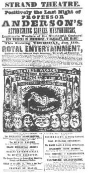 Poster used by Anderson during his closing week at the Strand Theatre, London, January 11th, 1848. From the Harry Houdini Collection.