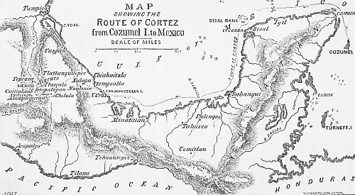 MAP SHOWING THE Route of Cortez from Cozumel I. to Mexico.