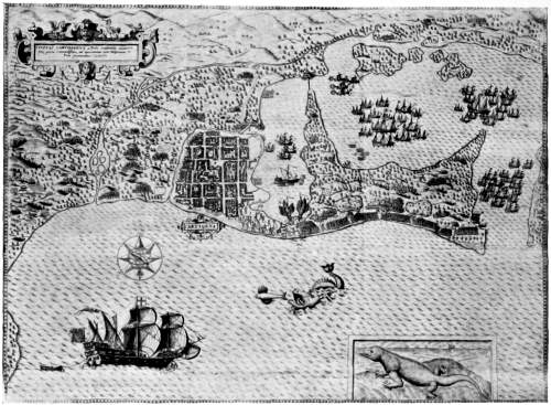CARTAGENA IN 1586, SHOWING THE DOUBLE HARBOUR; THE SHIP IN THE FOREGROUND MAY BE DRAKE'S FLAGSHIP, THE _BONAVENTURE_