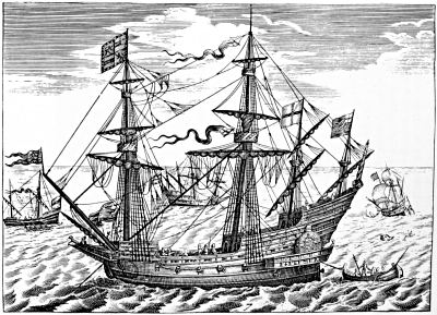 AN ELIZABETHAN WAR-SHIP; A PINNACE BEYOND, TO THE LEFT