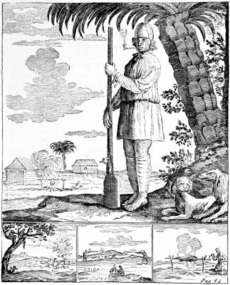 A BUCCANEER'S SLAVE, WITH HIS MASTER'S GUN; A BARBECUE IN RIGHT LOWER CORNER
