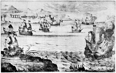 THE FIRESHIP DESTROYING THE SPANISH ADMIRAL; CASTLE DE LA BARRA IN BACKGROUND
