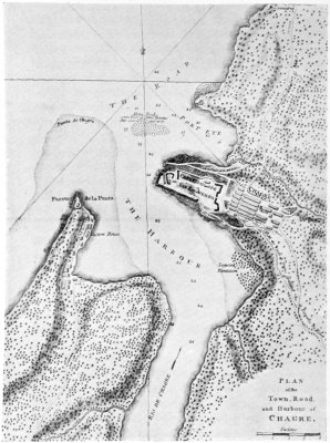 PLAN of the Town, Road, and Harbour of CHAGRE.