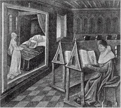 Fig. 1. Interior of a library: from a MS. of a French translation of the first book of the Consolations of Philosophy of Boethius.