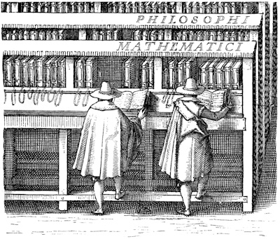 Fig. 5. Bookcases in the library of the University of Leiden: from a print by J.C. Woudanus, dated 1610. (Lent by the Syndics of the University Press.)