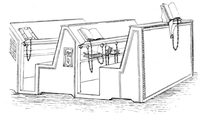 Fig. 6. Bookcases at west end of south side of Library, Cesena.