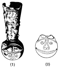 Fig. 50.—1. Sheath-mounting from a grave in Westray, Orkney. 2. Plan of its ornament.