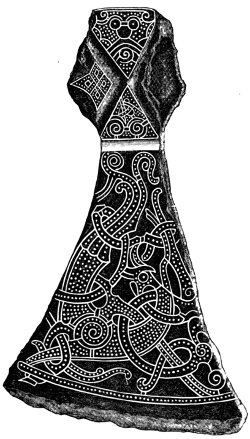 Fig. 78.—Axe-head inlaid with silver, from the Mammen How, Denmark.