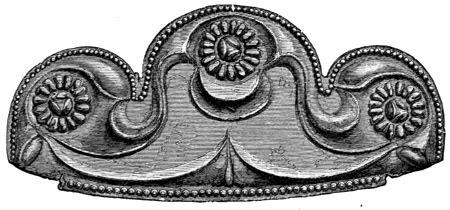Fig. 104.—Ornamental Plate of thin bronze, embossed, at the junction of the mirror with its handle (actual size).